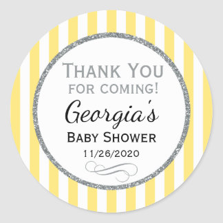 Yellow Gray Baby Shower Thank You Favor Tags Round Sticker
