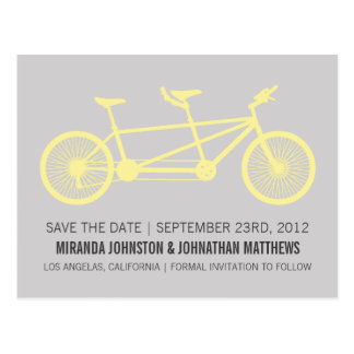 Yellow & Gray Bicycle Save The Date Post Cards
