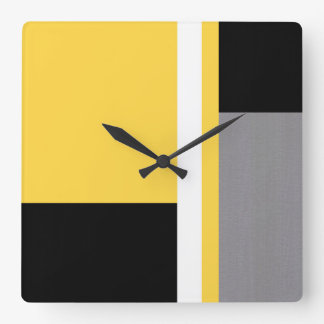 Yellow Gray Black and White Block Square Wall Clock