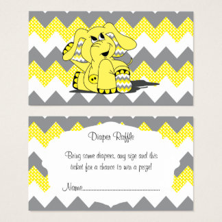 Yellow & Gray Chevron Elephant Baby Diaper Raffle Business Card