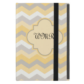 Yellow/Gray Chevron Monogram Cover For iPad Mini