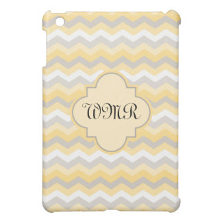 Yellow/Gray Chevron Monogram iPad Mini Case