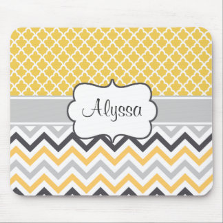 Yellow Gray Chevron Personalized Mousepad