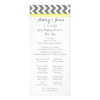 Yellow Gray Chevron Wedding Program Rack Card
