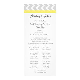 Yellow Gray Chevron Wedding Program Rack Card