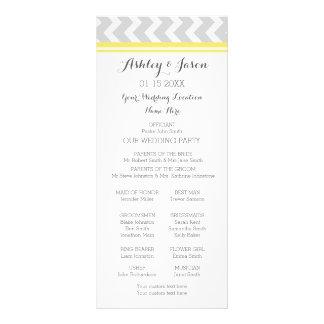 Yellow Gray Chevron Wedding Program Rack Cards