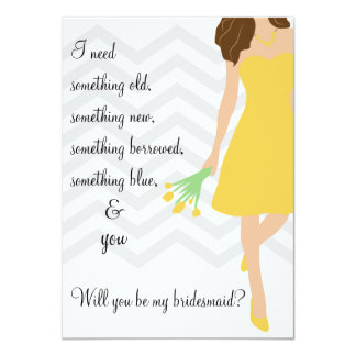 Yellow Gray Chevron Will You Be My Bridesmaid Card