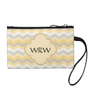 Yellow/Gray Chevron Zigzag Coin Purse