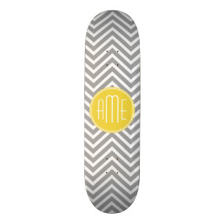 Yellow Gray Chevrons Custom Monogram Skateboard