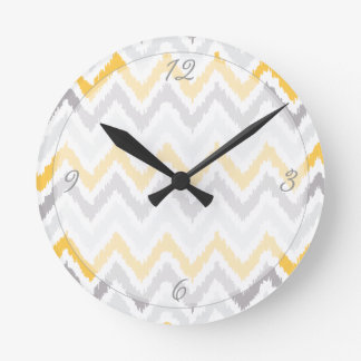 Yellow Gray Chevrons Ikat Pattern Round Clock