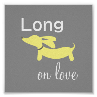 Yellow & Gray Dachshund Wiener Dog Wall Art