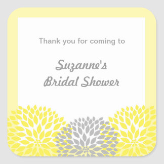 Yellow Gray Dahlia Bridal or Baby Shower favor tag