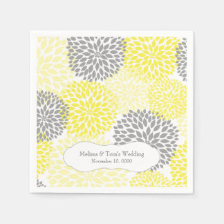 Yellow Gray Dahlia mums / your own wording Paper Serviettes