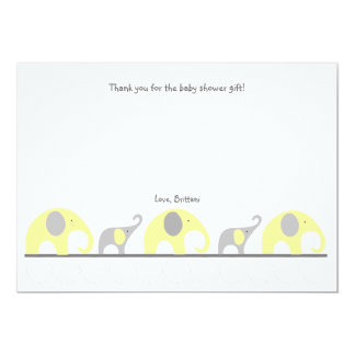 Yellow Gray elephant baby shower thank you note 13 Cm X 18 Cm Invitation Card