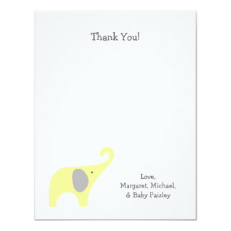 Yellow Gray Elephant Baby Shower Thank You Notes 11 Cm X 14 Cm Invitation Card