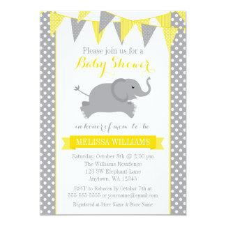 Yellow Gray Elephant Polka Dot Bunting Baby Shower 13 Cm X 18 Cm Invitation Card