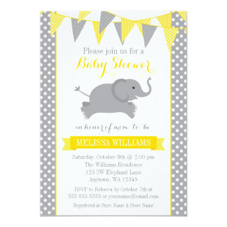 Yellow Gray Elephant Polka Dot Bunting Baby Shower Card