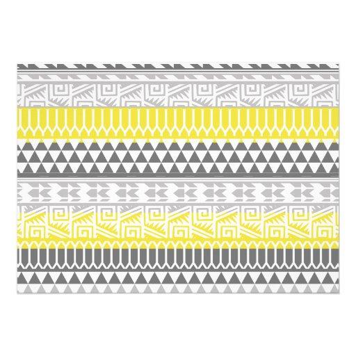Yellow Gray Geometric Aztec Tribal Print Pattern Personalized Invite