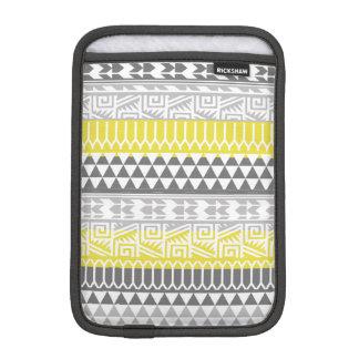 Yellow Gray Geometric Aztec Tribal Print Pattern iPad Mini Sleeves