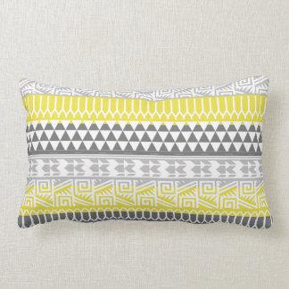 Yellow Gray Geometric Aztec Tribal Print Pattern Lumbar Pillow