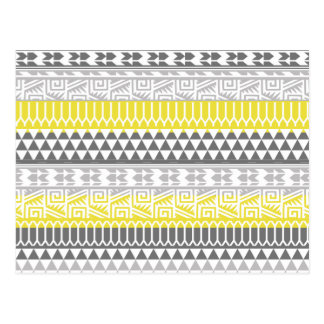 Yellow Gray Geometric Aztec Tribal Print Pattern Postcard