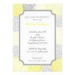 Yellow Gray grey Dahlia Bridal Shower Invite