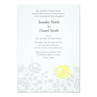 Yellow Gray Grey Floral Wedding Invitations