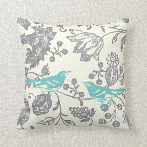 Yellow Gray Ivory Vintage Floral Bird Pattern Throw Pillows