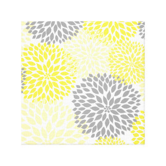 Yellow Gray modern dahlia blossoms wall art Gallery Wrapped Canvas