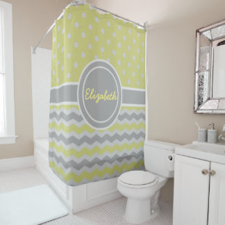 Yellow Gray Polka Dot Chevron Shower Curtain