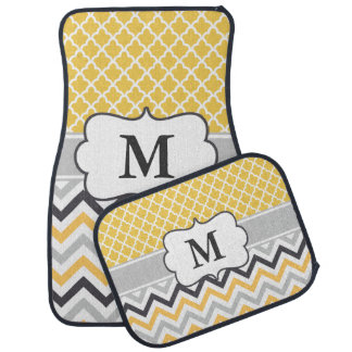 Yellow Gray Quatrefoil Chevron Monogram Car Mat