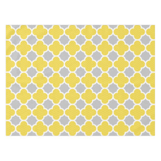 Yellow & Gray Quatrefoil Geometric Pattern Tablecloth