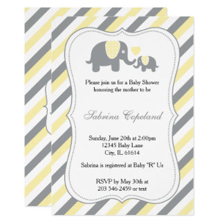 Yellow & Gray Stripes Baby Elephant | Baby Shower Card