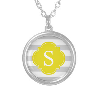 Yellow Gray Stripes Monogram Silver Plated Necklace