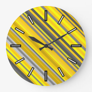 Yellow & Gray Stripes Pattern Clock
