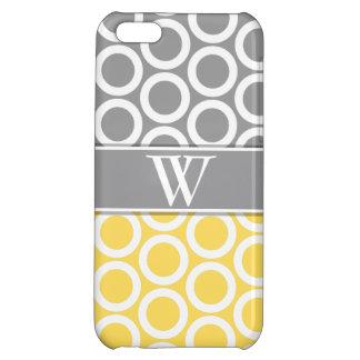 Yellow & Gray Trendy Monogrammed iPhone 5 iPhone 5C Cover