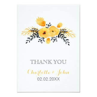 yellow gray watercolor floral wedding Thank You 13 Cm X 18 Cm Invitation Card
