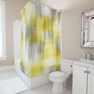 Yellow Gray White Abstract Shower Curtain