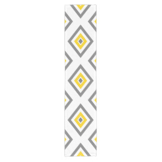 Yellow Gray White Diamond Geometric Pattern Short Table Runner
