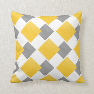Yellow Gray White Geometric Block Pattern Cushion