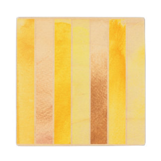 yellow great watercolor background - watercolor wood coaster