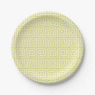 Yellow Greek Key Pattern Paper Plate
