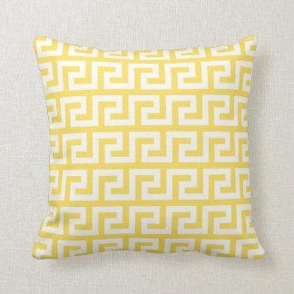 Yellow Greek Key Throw Pillow