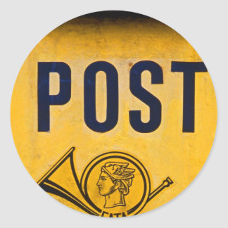 Yellow Greek Postbox Classic Round Sticker