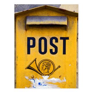 Yellow Greek Postbox Postcard