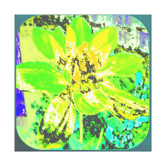 YELLOW/GREEN ABSTRACT DAHLIA FLORAL FLOWER STRETCHED CANVAS PRINT