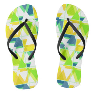 Yellow green abstract flip flops