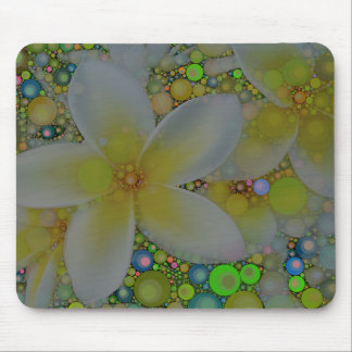 Yellow Green Abstract Flower Mouse Pad