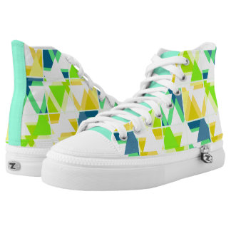 Yellow green abstract high tops