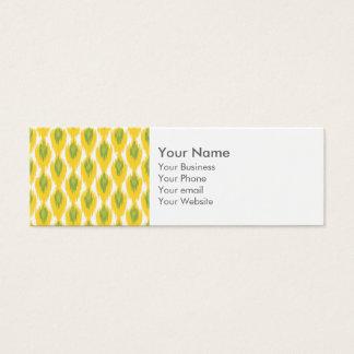 Yellow Green Abstract Tribal Ikat Diamond Pattern Mini Business Card